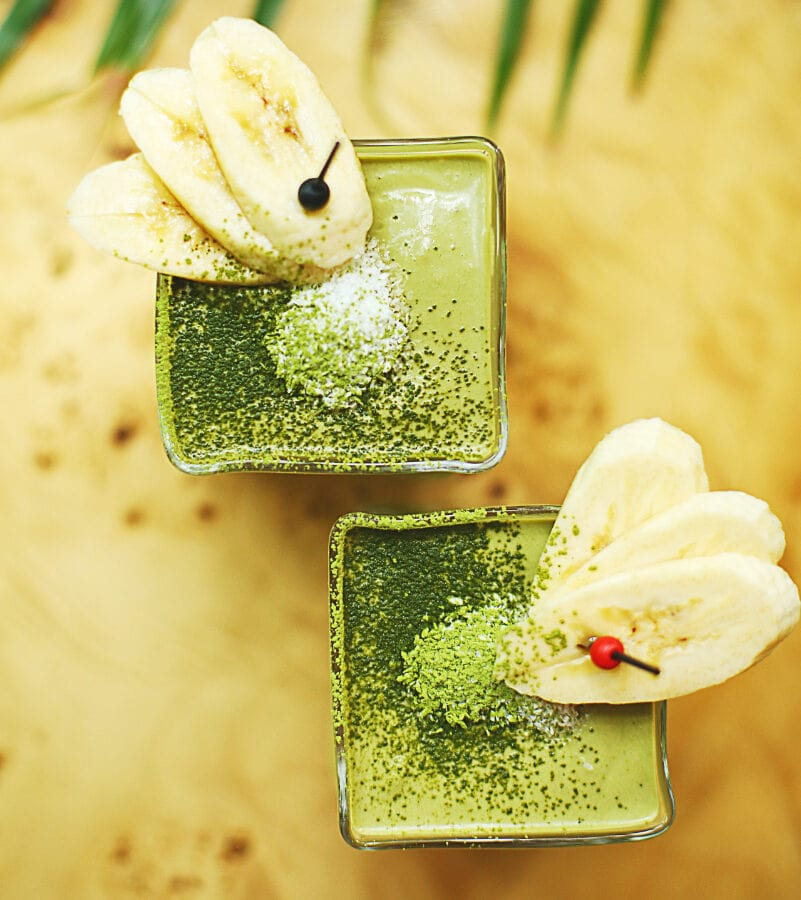 Photo of a healthy green smoothie made with crickets.